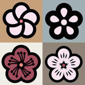 Plum blossom flower pattern symbol — Stock Vector