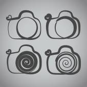 Vector: camera icon with heart-shaped. Doodle hand drawn sign in — Stock Vector