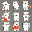 Cartoon White Baby Bears in Action Collection — Stock Vector #52043519