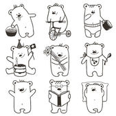 Cartoon Baby Bears in Action Collection — Stock Vector