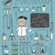 Young Girl Chemist and Laboratory Tools Collection — Stock Vector #52892537