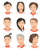 Men and Women Hand Drawn Face Avatars Set — Stock Vector