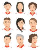 Men and Women Hand Drawn Face Avatars Set — Stock Vector