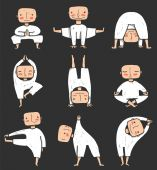 Man doing Yoga Asana Collection — Stock Vector