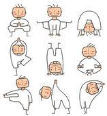 Comic Yoga Man Collection — Stock Vector
