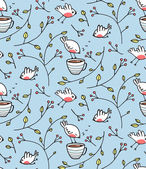 Birds and Cup of Tea Romantic Background — 图库矢量图片