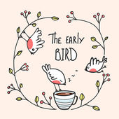 The Early Bird Saying with Birds and Coffee — Stock Vector