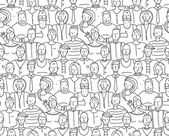 Black and White People Throng Seamless Background — Stok Vektör