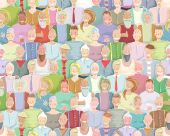 Colorful Many People Throng Tileable Background Hand Drawn — Stok Vektör