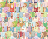 Colorful Many People Throng Tileable Background Hand Drawn — Stockvector