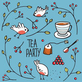Garden Tea Party with Birds Twigs and Berries — Stock Vector