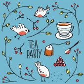 Garden Tea Party with Birds Twigs and Berries — Cтоковый вектор