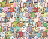 Smiling People Crowd Collective Portrait Seamless Pattern — Stok Vektör
