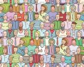 Smiling People Crowd Collective Portrait Seamless Pattern — Stock vektor