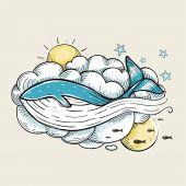 Romantic Whale Swimming in Clouds Retro Design — Stock Vector