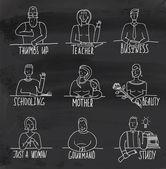 Monochrome Hand Drawn People Occupation on Blackboard — Stock Vector