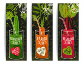 Drinking Diet Vegetable Juice Cartoon Design on Dark with Greens — Stock Vector