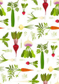 Leafy Vegetables and Greens Seamless Pattern Background — Stock Vector