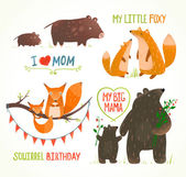 Cartoon Forest Animals Parent with Baby Birthday Party Cards — Stock Vector