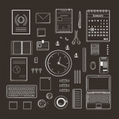 Office Supplies Collection Flat Lines Monochrome Illustration on Black — Vetorial Stock