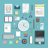 Office Supplies Collection Flat Style Illustration — Vetorial Stock