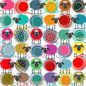 Colorful Seamless Sheep and Yarn Balls Pattern — Stock Vector