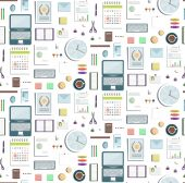 Seamless Pattern Office Supplies Flat Colored Business Wallpaper — Stockvektor