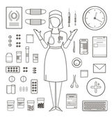 Outlined One Color Medical Symbols and Icons Collection with Nurse Standing — Stock Vector