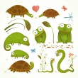 Cartoon Green Reptile Animals Childish Drawing Collection — Stock Vector #60542729