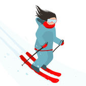 Young Sporty Girl Skiing Downhill in Mountains — Stock Vector