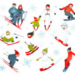 Skier Snowboarder Snowflakes Winter Sport Collection — Stock Vector #60843517