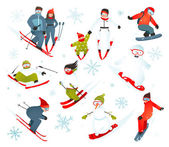 Skier Snowboarder Snowflakes Winter Sport Collection — Stock Vector