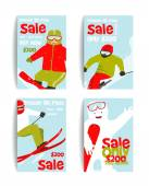 Mountain Skier Colorful Winter Sport Flyer Design Template — Stock Vector