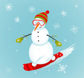 Снеговик и иллюстрация зимнего вида спорта сноуборда — Cтоковый вектор