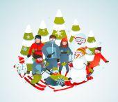 Dessin animé joyeux groupe sportif de skieurs Snowboarders et arbres d'hiver — Vecteur