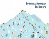 Cartoon Mountain Ski Resort Seamless Border Pattern — Vector de stock