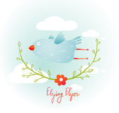 Flying Bird with Floral Wreath Cartoon — Stock Vector
