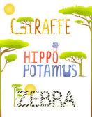 African Animals Hippopotamus Giraffe Zebra Fun Lettering — Stock Vector