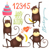 Monkey Fun Cartoon in Poses with Birthday Lettering — Vector de stock