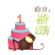 Monkey Cake One Years Old with Happy Birthday Lettering — Stock Vector #64730067