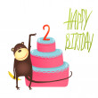 Monkey Cake Two Years Old with Happy Birthday Lettering — Stock Vector #64730227