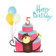 Monkey Congratulating Five Years Old with Happy Birthday Lettering — Stock Vector #64730355