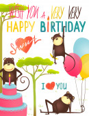 Monkey Fun Happy Birthday Card with Lettering — Stock Vector