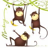 Monkey Fun Cartoon Hanging on Vine with Banana — Stock Vector