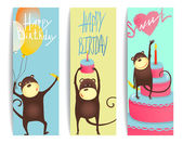 Monkey Fun Cards with Birthday Lettering — Stock Vector