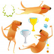 Winning Red Happy Dog Contest with Cups and Medals Collection — Stock Vector #68564223