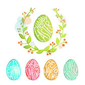 Easter Eggs Collection with Flowers Decoration in Watercolor Style — Stock Vector