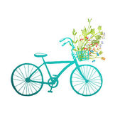 Blue summer bicycle — Vector de stock