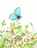 Hand Drawn Delicate Blue Butterfly Sitting on Grass — Stock Vector