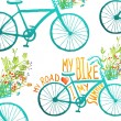 Vintage Summer Bike Composition with Bunch of Flowers Card — Stock Vector #70249311